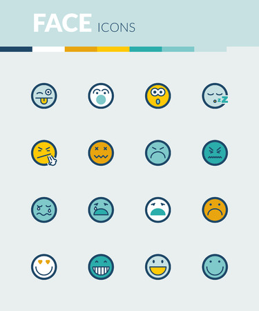 joking: Set of colorful flat icons about face Illustration