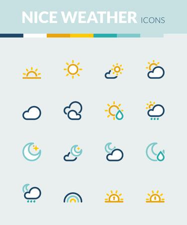 estado del tiempo: Conjunto de iconos planos de colores sobre el clima. Buen tiempo Vectores