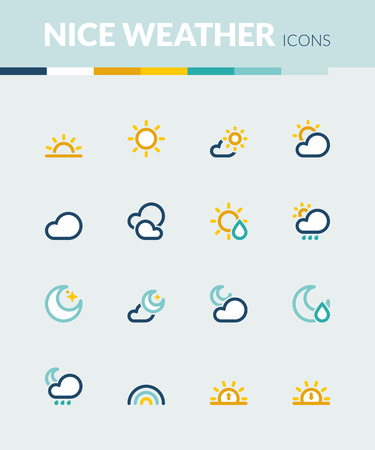 Set of colorful flat icons about  the weather. Nice weather