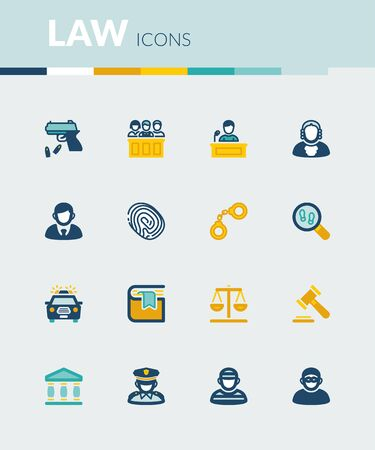 law books: Set of colorful flat icons about  law Illustration
