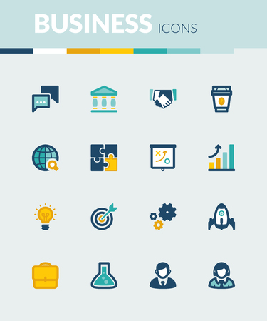 job icon: Set of colorful flat icons about  business. Start up Illustration