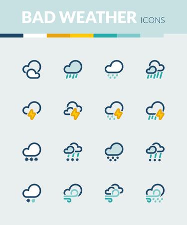 estado del tiempo: Conjunto de iconos planos de colores sobre el clima. Mal tiempo Vectores