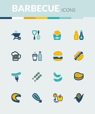 summer dog: Set of colorful flat icons about  barbecue.