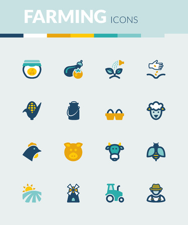 farming: Set of colorful flat icons about  farming