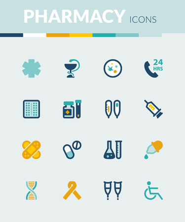 healthcare: Set of colorful flat icons about  healthcare. Pharmacy Illustration