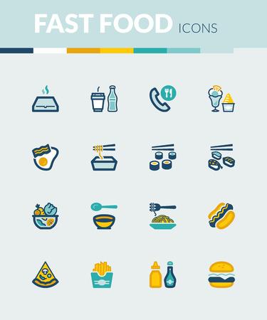 comida rapida: Conjunto de iconos planos de colores sobre la comida rápida y comida basura