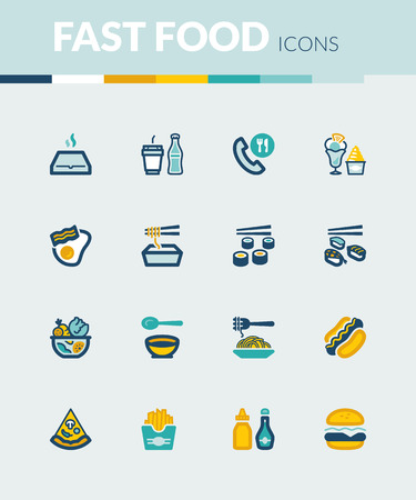 restaurant food: Set of colorful flat icons about fast food and junk food