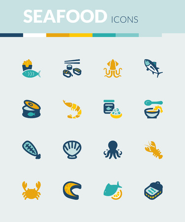 sardine: Set of colorful flat icons about  seafood. Illustration