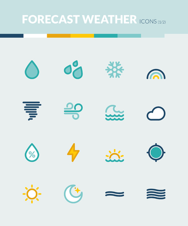 meteo: Set of colorful flat icons about  the weather. Forecast symbols 1