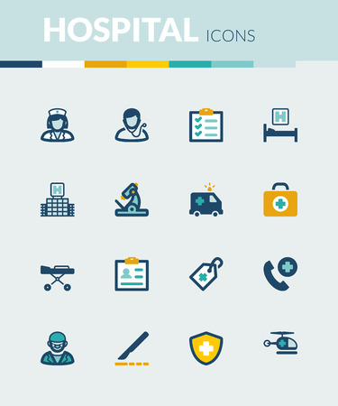 healthcare: Set of colorful flat icons about  healthcare. Hospital and emergency. Illustration