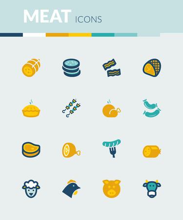 fiambres: Conjunto de iconos planos de colores alrededor de la carne.