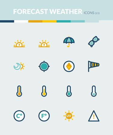 alerta: Conjunto de iconos planos de colores sobre el clima. Previsión símbolos 2