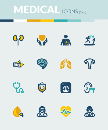 stress test: Set of colorful flat icons about health. Medical specialties