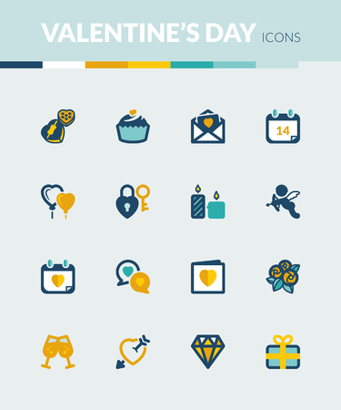 letter box: Set of colorful flat icons about  Valentines Day