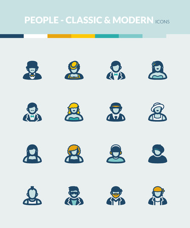 classic style: Set of colorful flat icons about  people. Classic and modern style