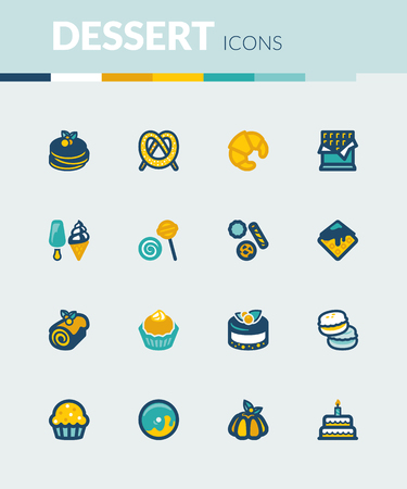 flan: Set of colorful flat icons about desserts. Illustration