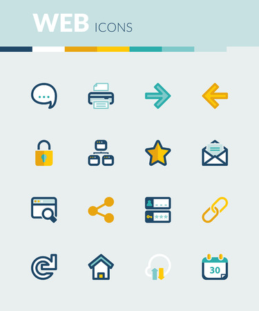 feedback link: Set of colorful flat icons about  web
