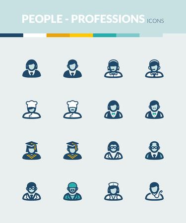 profesiones: Conjunto de iconos planos de colores sobre la gente. Profesiones y roles