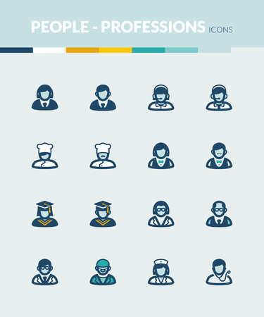 roles: Set of colorful flat icons about  people. Professions and roles