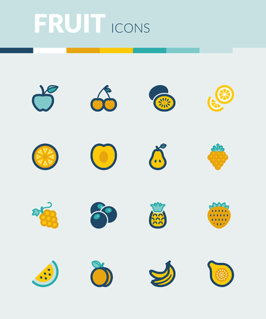 peach: Set of colorful flat icons about fruit