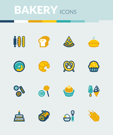 swiss roll: Set of colorful flat icons about  bakery Illustration