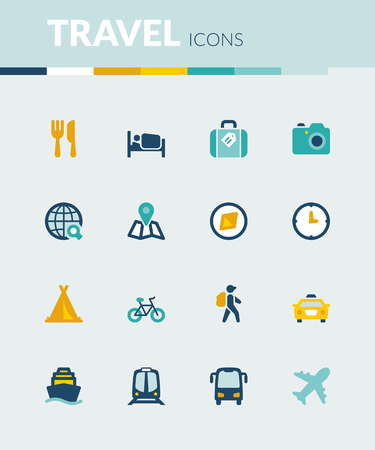 excursions: Set of colorful flat icons about  travel