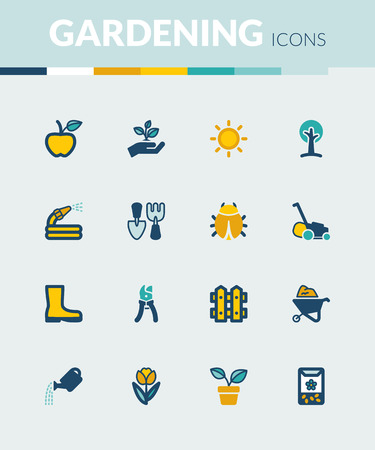 gardening hoses: Set of colorful flat icons about gardening Illustration