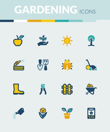 Set of colorful flat icons about gardening Ilustração