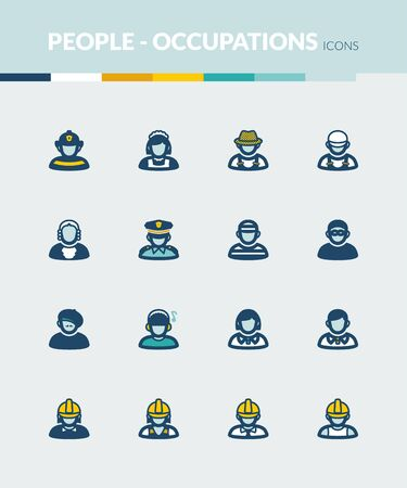 roles: Set of colorful flat icons about  people. Occupations and roles Illustration