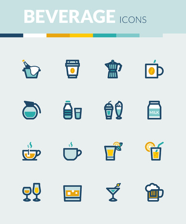 ice brick: Set of colorful flat icons about  beverage