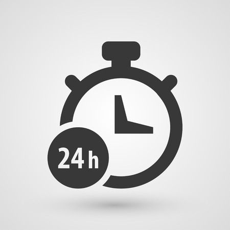 24 hour: Black 24 hours icon. Symbol about shopping concept.