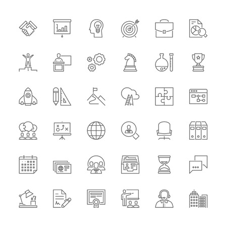 Thin line icons set. Flat symbols about business Çizim