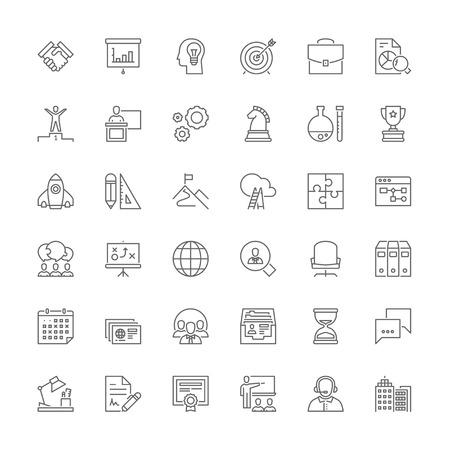 Zestaw ikon cienka linia. Płaskie symbole dotyczące biznesu