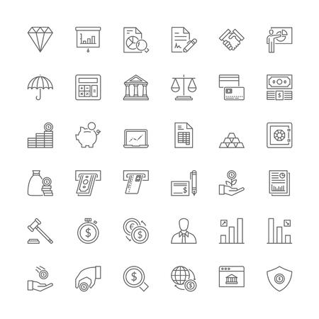 Thin line icons set. Flat symbols about finances 일러스트