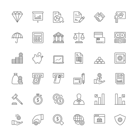 Thin line icons set. Flat symbols about finances Çizim