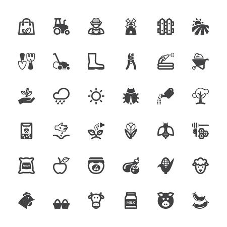 Set van zwarte vlakke pictogrammen over landbouw en veeteelt