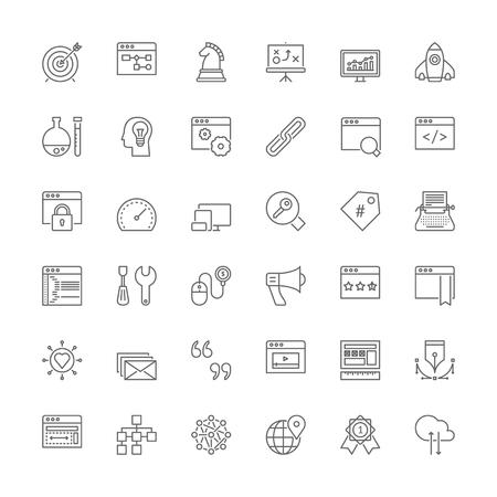 keywords link: Thin line icons set. Flat symbols about SEO and web development Illustration