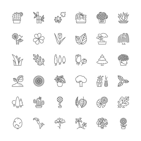 weeping: Thin line icons set. Flat symbols about flowers, plants and trees.