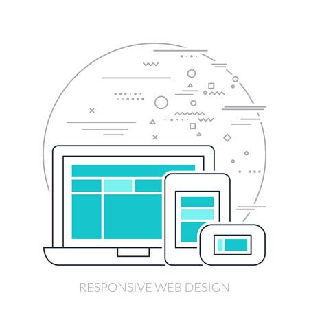 palmtop: Thin line flat design of responsive web design.