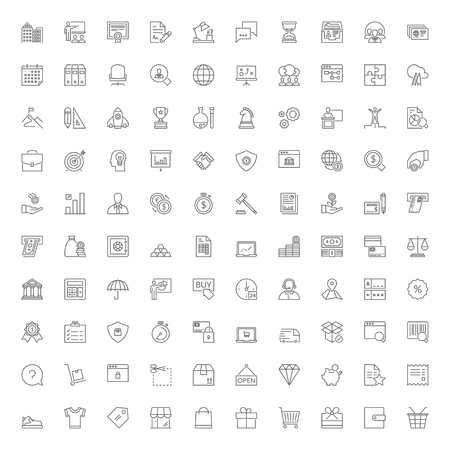 Thin line icons set. 100 flat symbols about business, finances and shopping Çizim