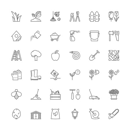 potting soil: Thin line icons set. Flat symbols about gardening