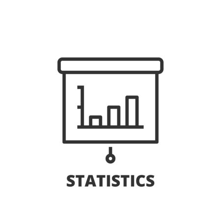 statistics icon: Thin line icon. Flat symbol about business. Statistics.