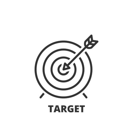 business focus: Thin line icon. Flat symbol about business. Target