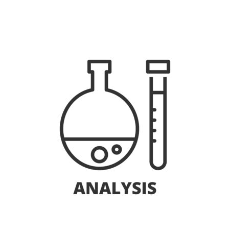 business analysis: Thin line icon. Flat symbol about business. Analysis