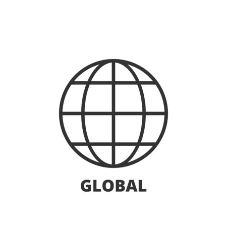 business symbol: Thin line icon. Flat symbol about business. Global