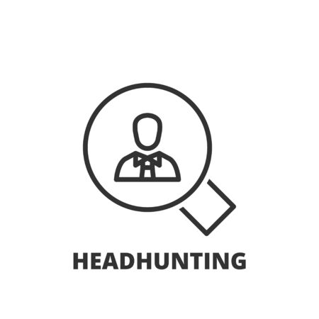 headhunting: Thin line icon. Flat symbol about business. headhunting Illustration