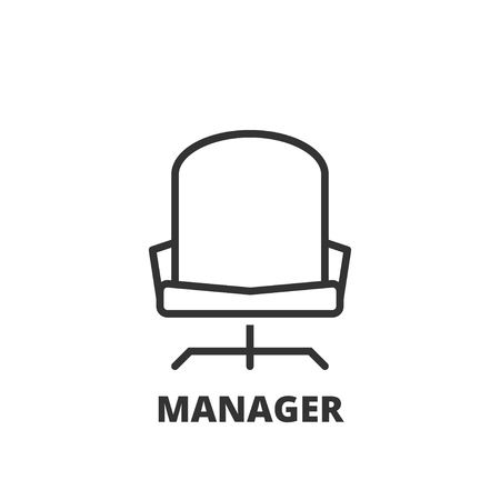 office icon: Thin line icon. Flat symbol about business. Manager