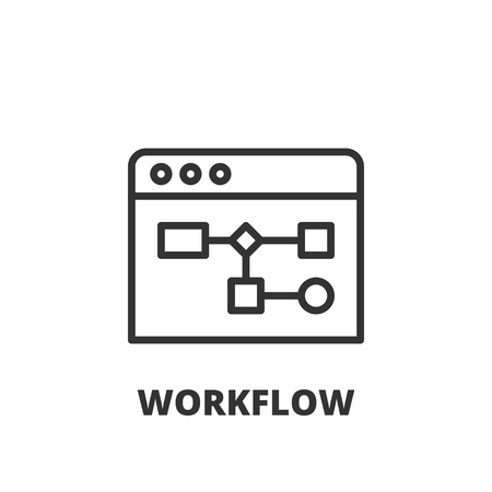Thin line icon. Flat symbol about business. workflow