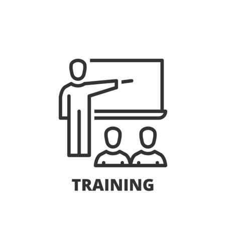 studying classroom: Thin line icon. Flat symbol about business. training