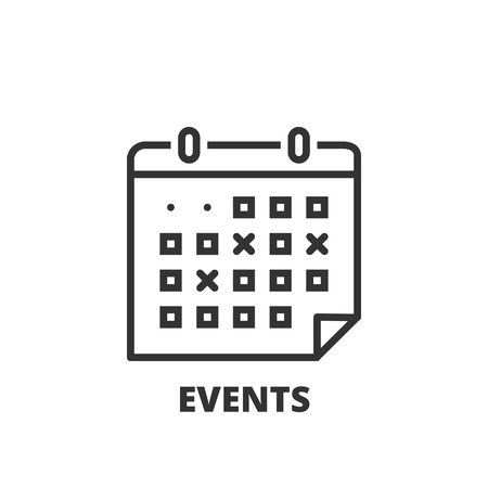 event calendar: Thin line icon. Flat symbol about business. events